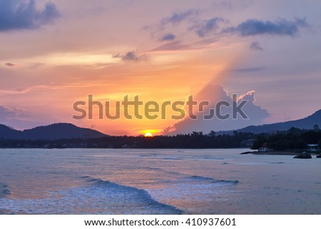 amazing colorful sunset on the tropical beach - stock photo
