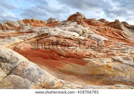 Amazing colors and shapes of sandstone formations in White Pocket, Arizona, USA - stock photo