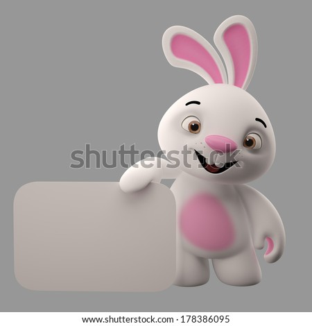Amazing 3D easter bunny, merry cartoon rabbit, animal character