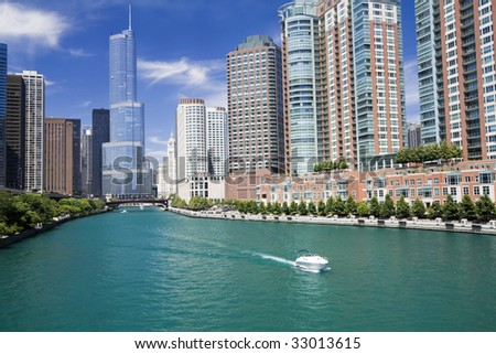Amazing day in Chicago, IL. - stock photo