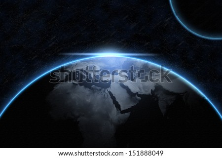 Amazing Earth with a planet in the universe. Elements of this image furnished by NASA  - stock photo
