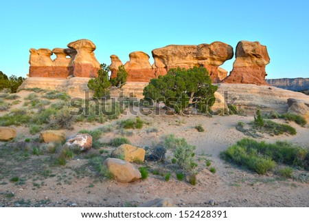 amazing eroded shapes of ancient Devils Garden, Grand Staircase Escalante national monument , Utah, United States - stock photo