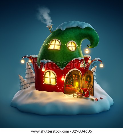 Amazing fairy house decorated at christmas in shape of elfs hat with opened door and fireplace inside. Unusual christmas illustration.  - stock photo