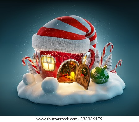 Amazing fairy house in elfs hat decorated at christmas in shape of tea cup with opened door and fireplace inside. Unusual christmas illustration.  - stock photo