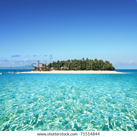 Amazing Fiji island and clear sea - stock photo