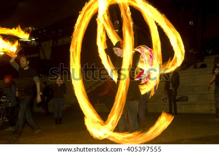 Amazing fire show dance at night, editorial, 26/02/2016 Castlefield Manchester.