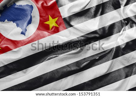 Amazing Flag of the State of Sao Paulo, Brazil - Close-up - stock photo