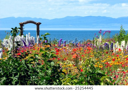 Amazing flower garden on the shore of the St-Lawrence seaway in Quebec, Canada