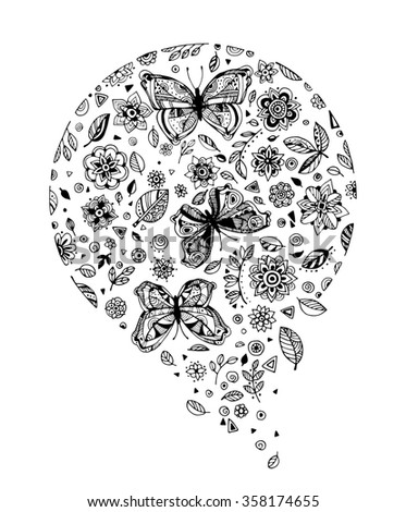 Amazing fly butterflies insect, flowers, plant, dots, spiral, triangle. Set collection. Creative bohemia concept for wedding invitations, cards, tickets. Coloring book page for adult. Black and white