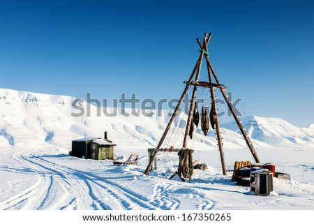 Amazing frost landscape with camp for the hunters and animal skin (Seals) of Spitsbergen in the Arctic North Pole region.