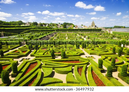 Amazing gardens from Villandry chateau, France - stock photo