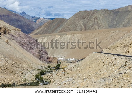 Amazing geological formations near road from Leh to Lamayuru - Tibet, Kargil District, Leh district, Western Ladakh, Himalayas, Jammu and Kashmir, Northern India