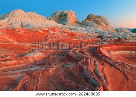 Amazing geology at White Pocket, Arizona, USA. - stock photo