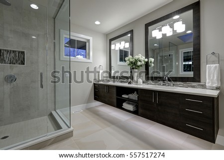 Amazing Gray Master Bathroom With Large Glass Walk In Shower, Large Dual  Vanity With