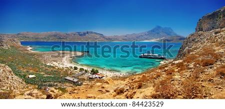 amazing Greece series - Balos bay, Crete , panorama - stock photo