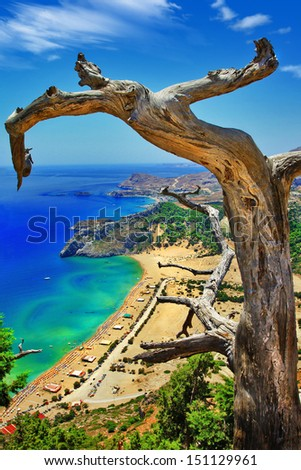 amazing Greece series. Rhodes island, view of Tsambika bay - stock photo
