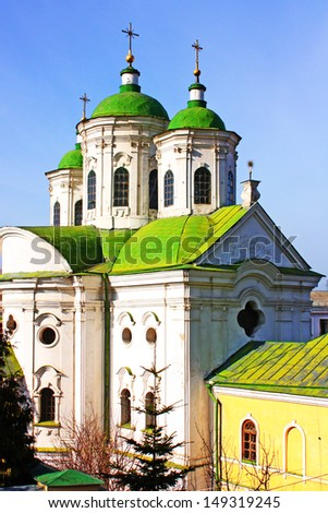 Amazing green cupola of church in Kiev taken in spring, Ukraine - stock photo