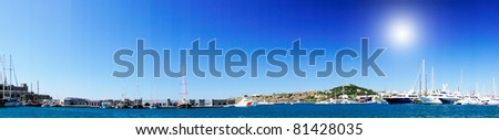 Amazing  harbour with yachts .Bodrum.Turkey. - stock photo
