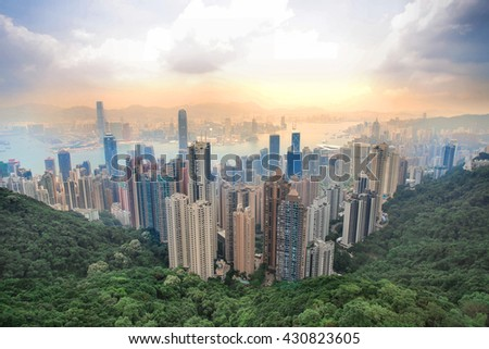 Amazing HongKong view in the sunset from Peak Victoria mountain - stock photo