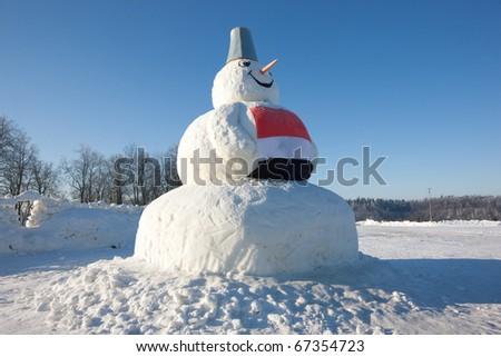 Amazing huge snowman in Sigulda, Latvia, Baltic states - stock photo