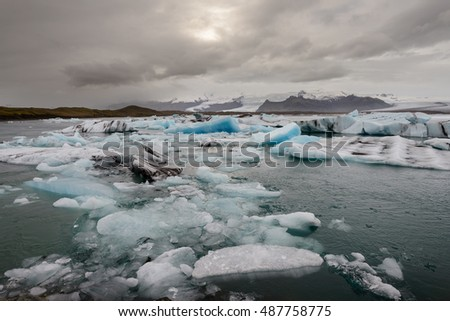 Amazing Iceland. Jokulsarlon lagoon, Beautiful cold landscape picture of ielandic glacier lagoon bay Iceland at sunset