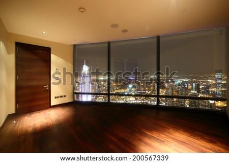 amazing interior of bright and modern empty room - stock photo