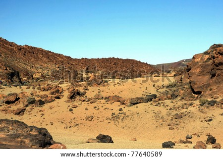 Amazing Island landscape - like on the desert. Tenerife, Spain