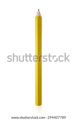 Amazing isolated tilted yellow pencil on pure white background. - stock photo