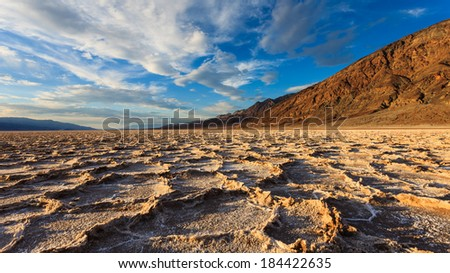 Amazing landscape at Badwater Basin in Death Valley National Park, California. - stock photo