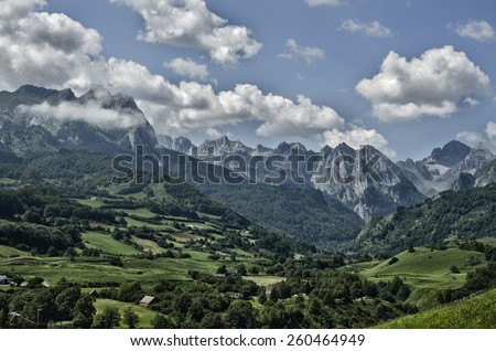 Amazing landscape at the Pyrenees mountains in France - stock photo