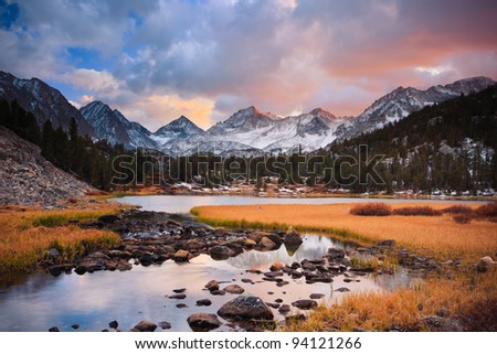 Amazing Landscape, Beautiful Mountain Sunset - stock photo