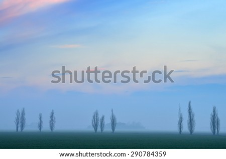amazing landscape of countryside in winter - stock photo