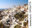 Amazing landscape view of Oia village in Santorini island. - stock photo