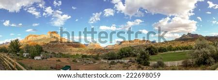 amazing landscape zion national park utah panorama - stock photo
