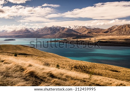 amazing landscapes viewed from Tekapo observatory, New Zealand - stock photo