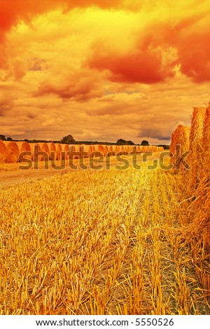 Amazing light and Color as a storm brews over track lined by Hay Bails - stock photo