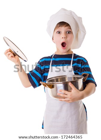 Amazing little chef opens the pot, isolated on white - stock photo