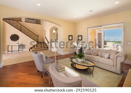 Amazing Living room with expensive furniture and amazing view to outdoor pool area. Modern villa, interior, beautiful living room - stock photo