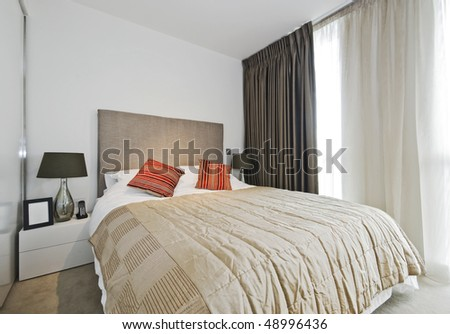 amazing luxury bedroom with contemporary accessory and furniture - stock photo