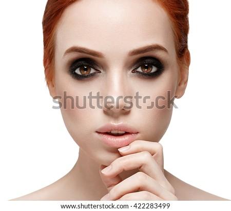 Amazing make up woman face close up portrait isolated on white Beautiful big eyes - stock photo