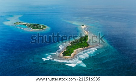 Amazing Maldives sea island from air  - stock photo