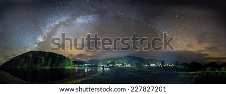 Amazing Milky way North Pine Island at Pang - Oung Thailand . Panorama Milky way view. - stock photo