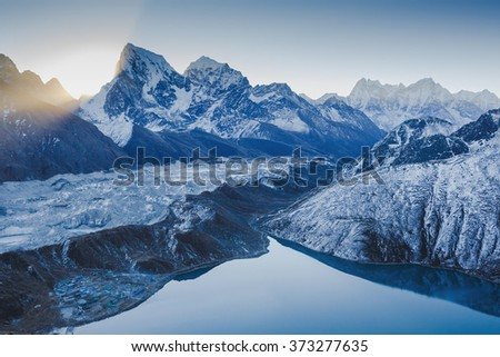 Amazing Morning in Himalayas at sunrise. View from Gokyo Ri, 5360 meters up in the Himalaya Mountains of Nepal  - stock photo