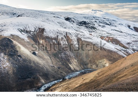 amazing mountain in Kerlingarfjoll, Iceland, in winter - stock photo