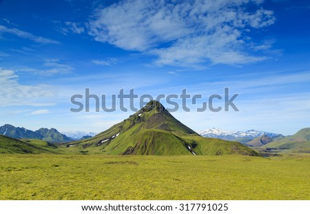 Amazing mountain landscape in the Highland of Iceland on the Laugavegur hiking trail. - stock photo
