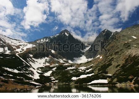 Amazing mountain view (High Tatra, Slovakia). - stock photo