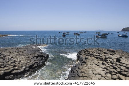 Amazing nature scene at Ganh Da Dia reef in Tuy An, Phu Yen, Vietnam