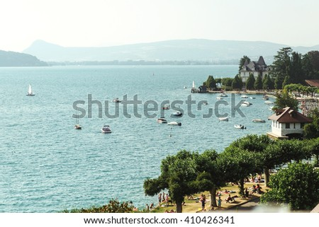 Amazing nature sea landscape with an arbor of french resort annecy