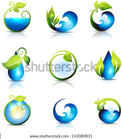Amazing Nature Symbols Water Leafs Waves Stock Illustration