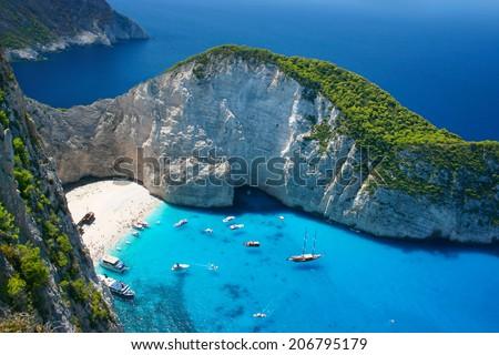 Amazing Navagio Beach in Zakynthos Island, Greece - stock photo